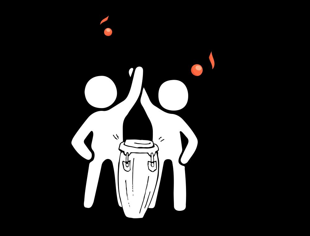 Grafik: zwei Männchen mit der Aufschrift Rhytmus verbindet